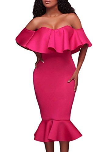 Azbro Women's Ruffle Off Shoulder Mermaid Midi Party Dress Rosy