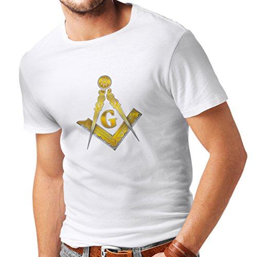 lepni.me T-Shirt da Uomo Massone - massonica - Simbolo Squadra e Compasso con G (X-Large Bianco
