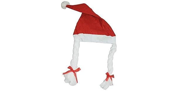 Unisex Christmas Santa Felt Hat With Braids Fancy Dress Costume Xmas Decoration