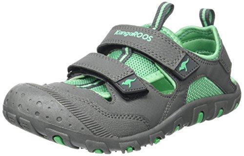 KangaROOS Unisex-Kinder Kangaspeed X5 Geschlossene Sandalen, Gris (Dk Grey/Simply Green), 34 EU