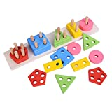Best 2 Year Old Learning Toys - Grizzly Wooden Geometric Shape Matching 5 Column Blocks Review