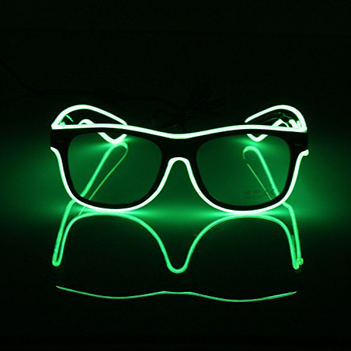 El Draht Kostüm Kit (El Fashion Brille Light Up Shutter Form EL Draht Glow LED Sonnenbrille Rave Kostüm Party, Konzert, Festival,)