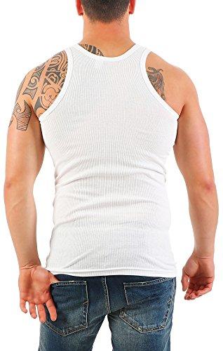 5er Pack Herren Unterhemd (Achselhemd / Muskelshirt) Doppelripp Nr. 449 auch in Übergröße ( Weiß / 13 (XXXXXL) ) - 4