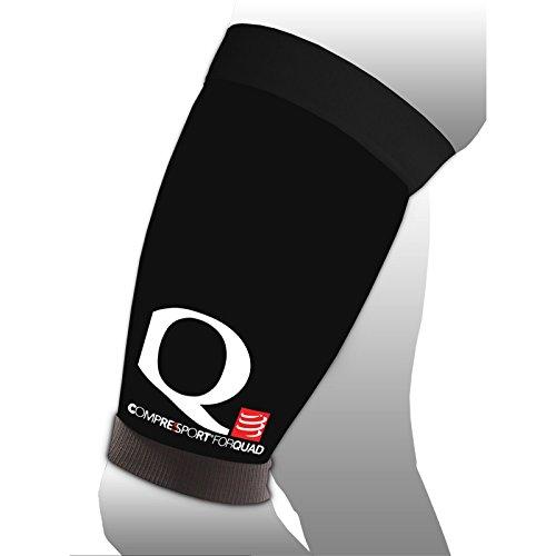 COMPRESSPORT FORQUAD Multisport Sleeve Kompression Beinling Oberschenkel Stütze (schwarz, T2 Umfang (oben 52-62, unten 36-42))