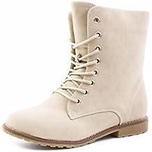 24a1fbd77ff8 Damen Schnür Stiefeletten Worker Boots mit Strass und Reißverschluss in  hochwertiger Lederoptik