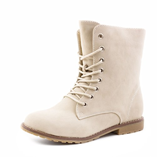 Damen Schnür Stiefeletten Worker Boots mit Strass und Reißverschluss in hochwertiger Lederoptik Beige Basic