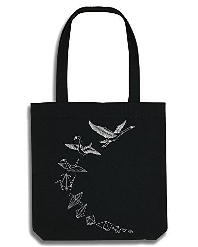 Ligarti Tasche Origami Schwan - Fair Wear - Recycelt - Jutebeutel - Handmade - Vögel Basteln Baumwolle, Tragetasche, Bag, Motiv, Hipster, Geschenk, Festival, Geschenkidee -