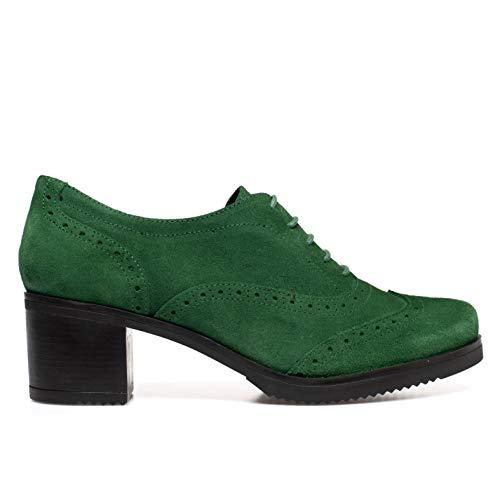 Blucher Zapatos Oxford Mujer con Cordones Verde