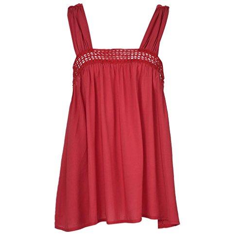Sanfashion bekleidung camicia - con bottoni - tinta unita - a punta tonda - senza maniche - donna rot xxxxl