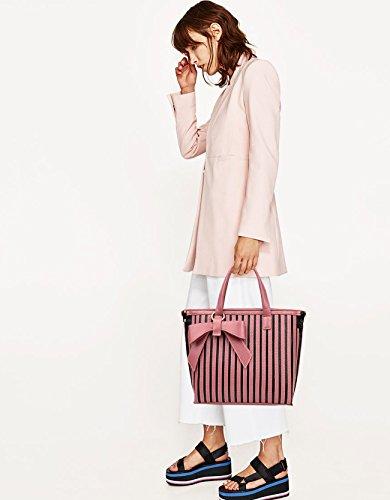 NICOLE&DORIS Damen Handtaschen Umhängetasche Schultertaschen Henkeltaschen Groß Tasche Wasserdicht Hohe Kapazität Dauerhaft Weich PU Schwarz Rosa