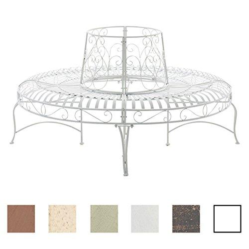 CLP 360° Metall Baum-Bank KAYDEN, Landhaus-Stil, rund Ø ca. 50 cm / 150 cm (innen/außen), Eisen lackiert, bis zu 6 Farben wählbar Weiß