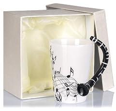 Idea Regalo - Tazza ceramica manico forma di clarinetto - Bianco Motivo