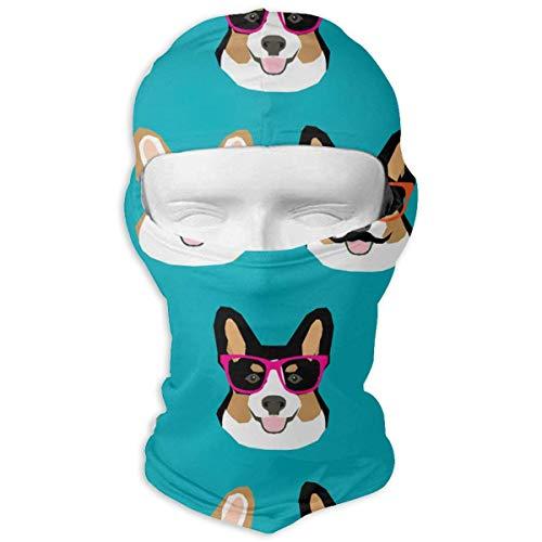 Bikofhd Cute Corgi Glasses and Mustaches Balaclava Face Mask Hood for Women Men Extra Warmth Hiking Motorcycling Neck Mask