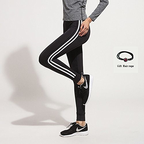 Huoduoduo Frauen Sporthose, Doppelte Weiße, Schlanke Stretch Yoga Tragen, Hohe Taille Laufhose (Schwarz Größe S, M, L, XL Geschenk Seil),M | 06852222522211