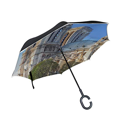 Große schöne Notre Dame de Paris Doppelschicht Falten Anti uv Schutz Winddicht Regen gerade Autos Golf Reverse invertiert regenschirmständer mit c förmigen Griff (Kinderwagen Arch)