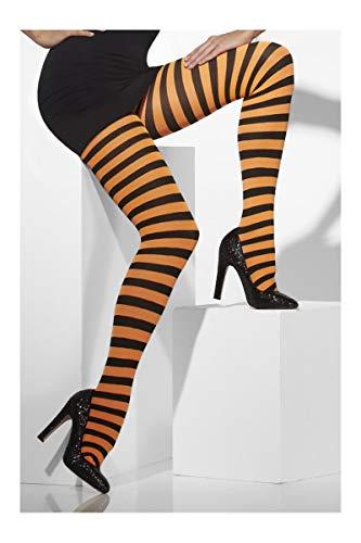 Smiffys Fever Damen Blickdichte Strumpfhose, Gestreift, One Size, Schwarz-Orange, 42761