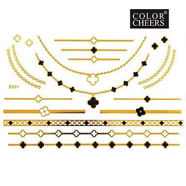 OOFAYZBL® Tatuaggi adesivi - Serie gioielli Da donna/Girl/Adulto/Teen - #(1) - Modello - di Carta (Oro Cupido Cuore)