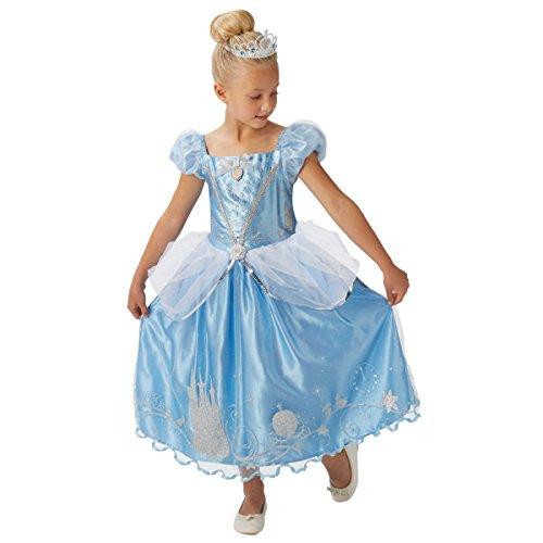 Gibt Mädchen Disney Prinzessin Cinderella + TIARA Büchertag Woche Halloween Kostüm Kleid Outfit 3-8 jahre - Blau, Blau, 5-6 Years (Halloween Cinderella)