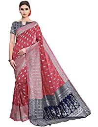 f3c6d4c199 Soru Fashion Women's Striped Kanjivaram Cotton Banarasi Art Jacquard Silk  Sarees with Blouse Piece (Cott