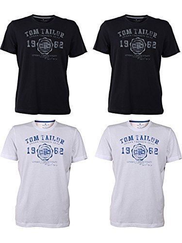 TOM TAILOR Herren Rundhals T-Shirt Logo Tee Basic - 4er Pack 2x White (2000) 2x Navy (6000)