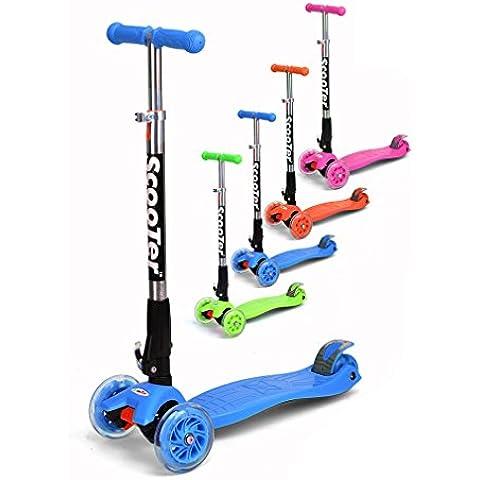 Fascol® Patinete de 3 ruedas con diseño scooter para niños de 2-15 años de edad + rodillera