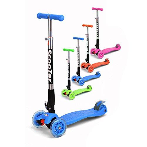 Fascol® Funny Scooter Klappbar Kinderroller leuchtende Flüsterrädern Hinterradreibungsbremse mit Kniepolster Rosa für Kinder 60kg Belastbar bis Blau