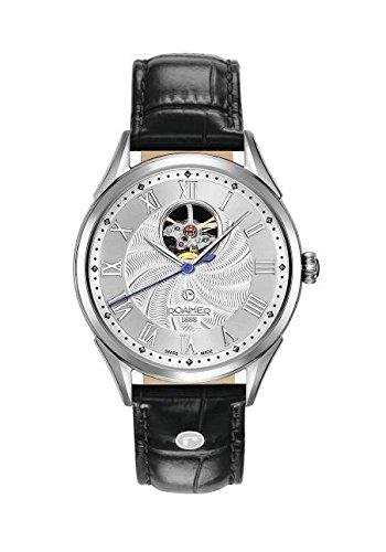 Roamer Reloj Automático para Hombre con Correa de Piel Plata Esfera analógica Pantalla y Negro 550661412205