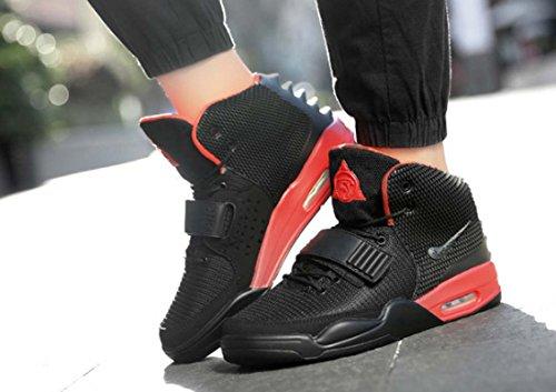 Hommes Sneaker Velcro Hi-top Chaussures De Basket Chic De Bonne Qualité Chaussures De Sport Renforcées À Lacets Coussin Anti-skip Daria Chaussures Noir