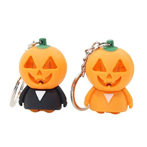 Toyvian LED Kürbis Mann Schlüsselanhänger mit Sound - Halloween Light up Spielzeug, 2 Stück