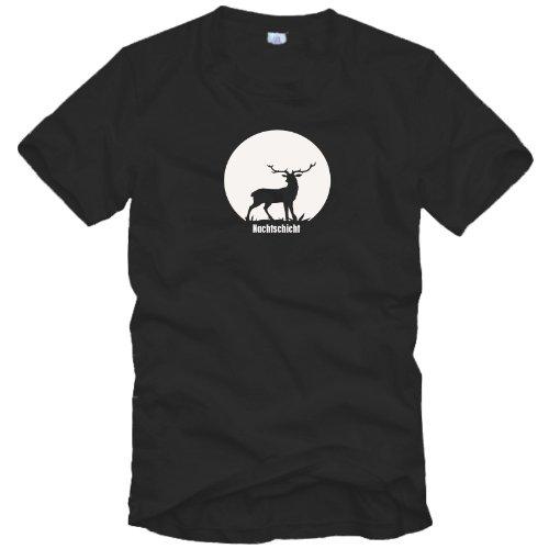 Kostüm Jäger Mann - Jäger T-Shirt - Nachtschicht - Gr. S bis 3XL - Geschenkidee für Jäger Geschenk Jagd, schwarz, XL