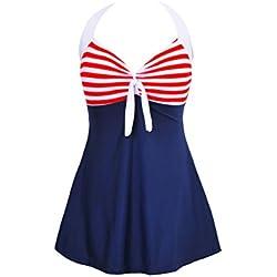 FeelinGirl Vestido de Traje de Baño Una Pieza Talla Grande con Pantalones Seguros para Mujer Rojo-Raya M