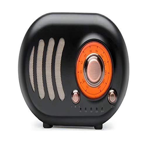 qiyanImitation Bois Rétro Créatif sans Fil Bluetooth Haut-Parleur Portable Subwoofer Extérieur Mobile Téléphone Petit Haut-Parleur Noir