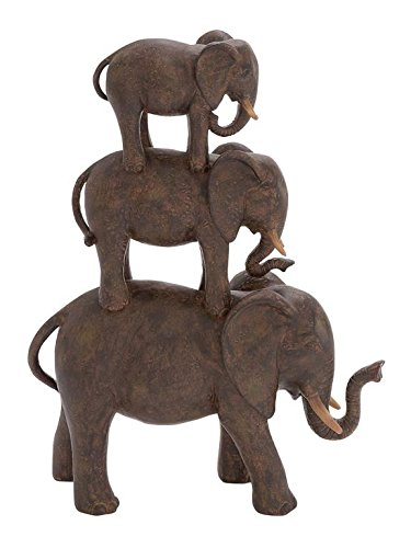Deco 79 Polystone Elephant Stack, 10 by 14-Inch -