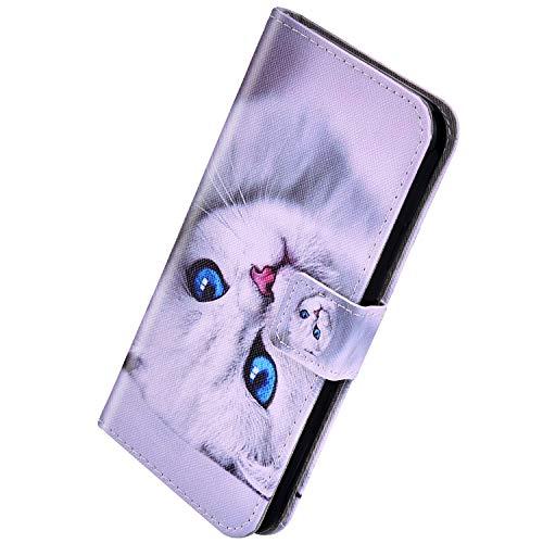 Herbests Kompatibel mit Huawei P30 Handyhülle Hülle Flip Case Vintage Luxus Muster Leder Schutzhülle Klappbar Bookstyle Brieftasche Ledertasche mit Magnet,Katze