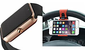 MIRZA GT08 Smart Watch & Sterring Holder for LENOVO a706(Sterring Holder & GT08 Smart Watch Phone with Camera & SIM Card Support Hot Fashion New Arrival Best Selling Premium Quality Lowest Price with Apps like Facebook,Whatsapp, Twitter, Sports, Health, Pedometer, Sedentary Remind,Compatible with Android iOS Mobile Tablet-Assorted Color)