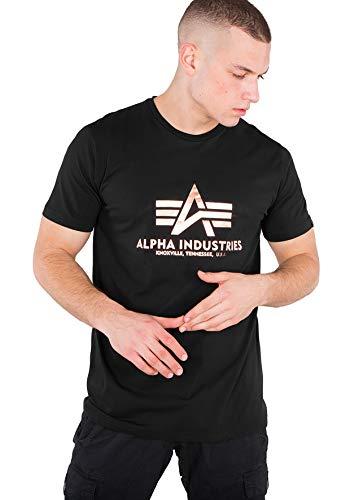 Alpha Industries Herren T-Shirts Basic Black / Gold 2XL