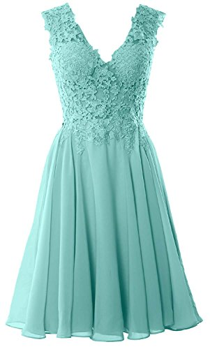 MACloth Gorgeous V Neck Cocktail Dress Short Lace Prom Homecoming Formal Gown Turquoise