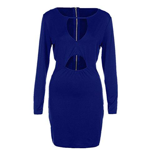 Bekleidung Loveso Kleid Sommerkleider Herbst Kleidung Damen Einfarbig Langarm V Ausschnitt Bandage Noble Abendkleid Freizeitkleid Kurze Kleid Minikleid ((Größe):38 (L), Blau)