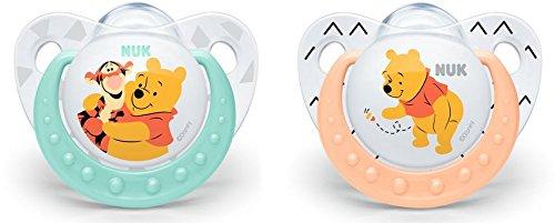 NUK 10175169 Disney Winnie Silikon-Schnuller, kiefergerechte Form, 0-6 Monate, 2 Stück, Girl, weiß