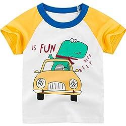 Anglewolf Baumwollmischung Jungen lacky Day Dinosaur T Baby Kurzarm T-Shirt 1-9Jahre Sommer T Shirts Männer Fun Shirt (Grün,100)