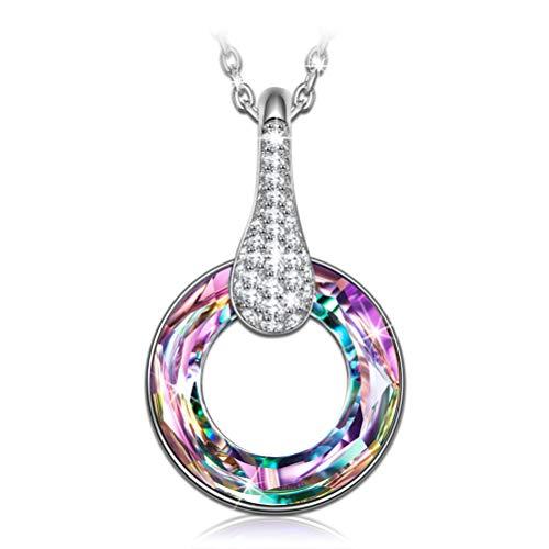 Susan Y Femme Collier Cercle Design Pendentif avec Cristaux de Swarovski Bijoux pour Elle Filles Anniversaire Saint Valentin Noēl