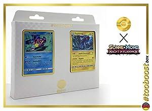 Knirfish (Bruxish) 38/147 Y Zapplarang (Eelektross) 46/147 - #tooboost X Sonne & Mond 3 Nacht in Flammen - Box de 10 Cartas Pokémon Aleman + 1 Goodie Pokémon