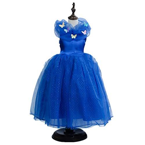 Shangrui Prinzessin Kostüm Maxi Kleid, Kurzarm Tüll Partykleid Maxikleid, Kinderkostüm Partykleid Cosplay Verkleidung.