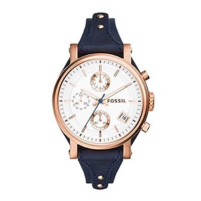 Fossil ES3838 - Reloj de cuarzo con correa de cuero para mujer, color blanco / azul