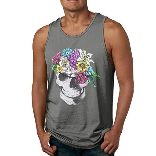Abigails Home Blume Piraten Schädel Herren Tank Top ärmellose Shirts Tee Basketball Sport T Shirt Tees Outdoor Fitness(XXL,Deep Heather) -