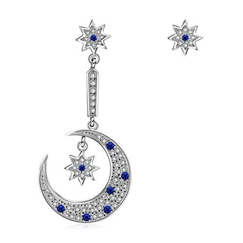 Kitzen Frauen Ohrringe Unregelmäßige Stern und Mond Ohrstecker Ohrringe 925 Sterling Silber Saphir Blau und Weiß Zirkonia Unregelmäßige Asymmetrie Ohrschmuck ()