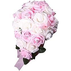 Ramo Novia Artificial - forma gota lluvia - color blanco y rosa