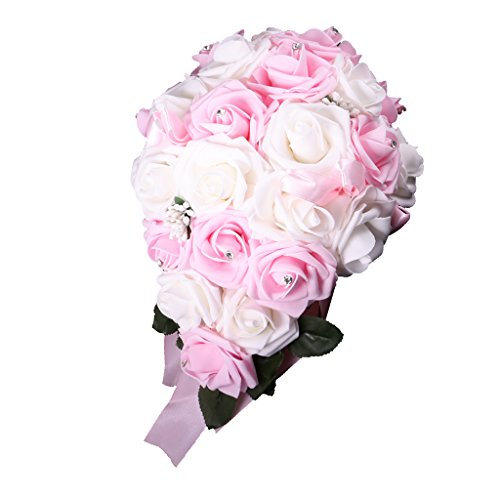 Magideal cristallo fiore damigella d'onore sposa bouquet di nozze bomboniere - rosa bianco