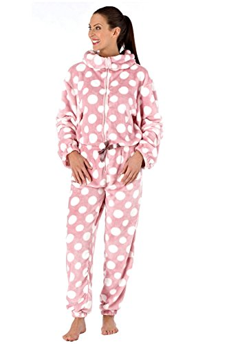 Donna saffico Luxury Tutina cerniera imbuto collo ratina pigiama tutina Rosa