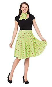 Bristol Novelty AC049C Falda Rock n Roll Skirt, Verde Claro